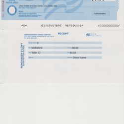 Example Money Order.  All black text printed by MOD.