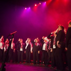 """Swoon! Singing about """"his gorgeous eyes""""... Representing women's barbershop singing at MTLacappella festival."""