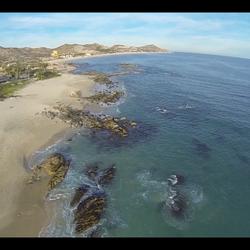 Scenic Baja Mexico coastline from above