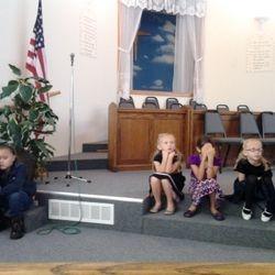 Children's church, quiet listening.