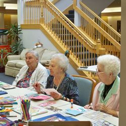 Paper crafts at Wiley Creek Village with the ladies there.