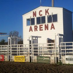 A view of the crow's nest and bucking chutes. That's where all the rodeo action starts!