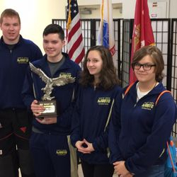 North Cobb-Harrison NJROTC Rifle Team qualifies for Navy Nationals.  Members pictured from left to right: Cadets Jennings Curd, Ben Davis, Alyssa Thomas, & Allora Whitney. (See full story below.)