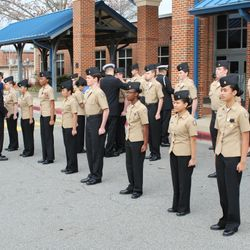 Cadets from 3rd Block standing Personnel Inspection, Friday, 3 Feb.