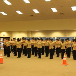 Cadets stands personnel inspection and the Area-12 Drill Championship Saturday, 4 Mar at Coffee High School.