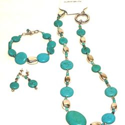 Real Turquoise with silver plated accents. Necklace, Bracelet, and Earrings