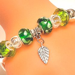 Euro Style Bracelet in Greens and Silver with Charm