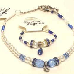 Sapphire Blue, Light Blues, and white glass pearls make this gorgeous set irresistible!