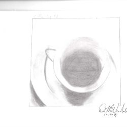 Drawing of a coffee cup with coffee inside. Done only using pencil.