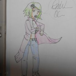 A police officer of sorts pulling her gun from the holster under her long jacket. Colored with color pencils.