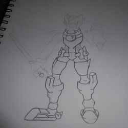 Based on a picture of Megaman Zero. I liked the legs, reason being that they're the only thing colored darkly.