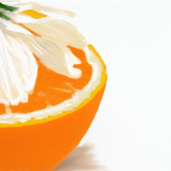 A lily on top of an orange. Done in Gimp.