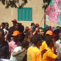Oromo refugees colorful unity in front of the UNHCR Cairo