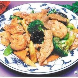 Triple Garlic Sauce- Shrimp, chicken, pork with vegetable in hot garlic sauce.
