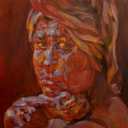 'Girl with a towel' 100 x 100 cm Oil on Canvas SOLD