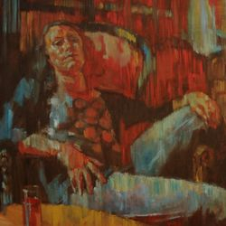 'Girl in Library Bar' 152 x 122 cm Oil on Canvas SOLD