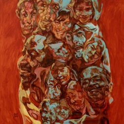 'Anti Racism Network Friends' 100 x 100 cm Oil on Canvas SOLD