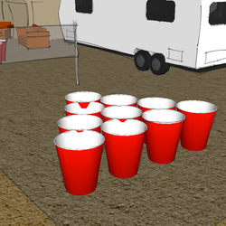 Full size beer pong game out front  can double as volley ball court.