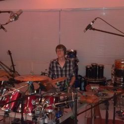 Joey recording on drums.