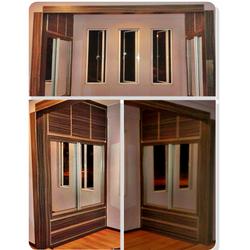 Formica laminated, aluminium frame, mirror sliding door.