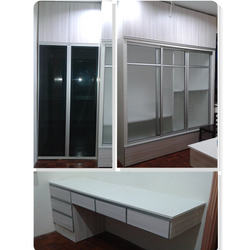 Formica laminated body, formica laminated door, glass sliding door, wall desk with drawers.