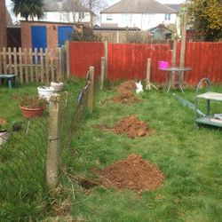 stages of prep work on a fencing job.