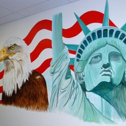 Liberty Tax office in Denton, Texas - left side of 35 foot wall.