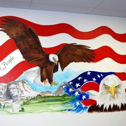 Right side of Liberty Tax mural depicting Americana Themes.