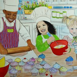 Kids in the Kitchen painting for a daycare kitchen play area
