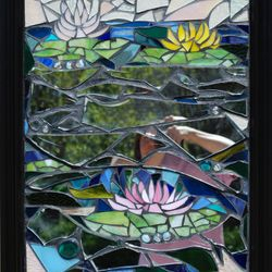 Recycled glass and mirror shards mosaic - Waterlilies.