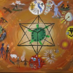 "Starr Seed Medicine Wheel  Pictograph  Acrylic on canvas 18""X20""  $200"