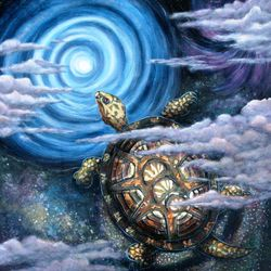 """Cosmic Turtle"" Acrylic on canvas SOLD"