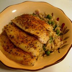 Tilapia with Crispy Pancetta, Onion and Pea Orzo