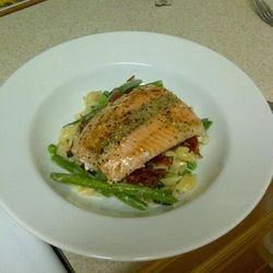 Seared Steelhead with Creamy Garlic Pasta, Proscutto and Green Beans