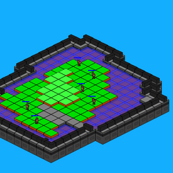 Game 2 in Development [Walls, Troop Formations, Water, Isometric Environment]