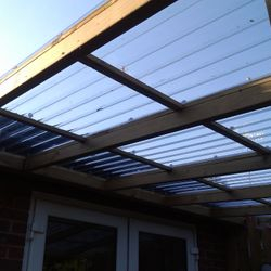 Lean to roof over decking.