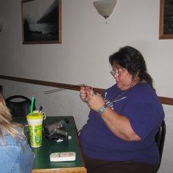 Barbara doing the dowsing rods.