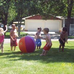 Hot days = sprinkler fun!