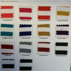 Color Chart Fabric list
