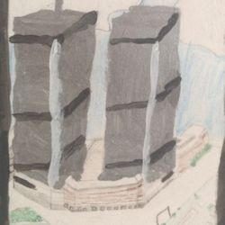 This is the painting of The World Trade Center. We will never forget you.