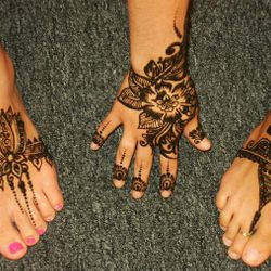 floral and lotus henna