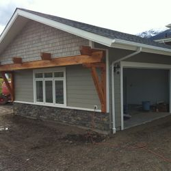 Example timber frames on a show home we built in Smithers.