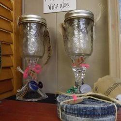 Hillbilly Wine Glasses & denim coasters