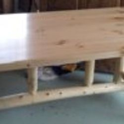 "Rustic table  42"" x 84"" log cabin legs    Discounted $500"