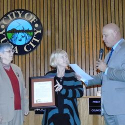"""Respite: Care for Caregivers"" Proclamation from our Mayor John Dukes; Joy Scott, Executive Director; Deborah Brooks, Board President"