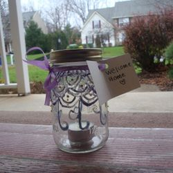 One of the Mason Jars donated by the Mount Art Club that hopes to welcome someone home