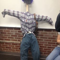 One of the scarecrows made during the scarecrow scavenger hunt.