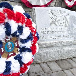 Wreathes flank the Odenton Veterans Memorial at the annual Troop 755-hosted wreath laying ceremony on Memorial Day.