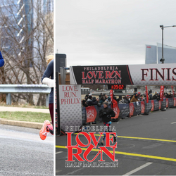 Finishing the Love Run Half Marathon with a new PR! One of the proudest moments of my life
