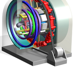 Sample rendering of a potential design for a combined MRI-CT Scanner, where model designs and field interactions were further simulated via Finite element analysis.